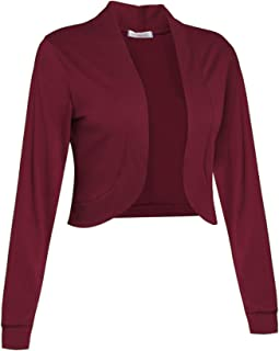 f8e6e750d212 Sufiya Womens Long Sleeve Short Cardigan Slim Fitted Cropped Open Front Bolero  Shrug