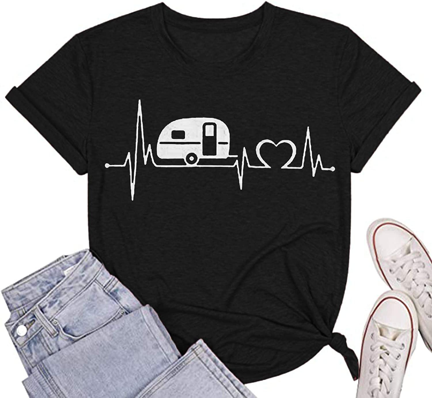Graphic Tees for Women 5 ☆ popular Vintage Shi Tampa Mall Sleeve Heartbeats Short Print