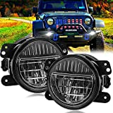 4 Inch Led Fog Lights, Smiley Design Front Bumper Replacements Foglights Compatible with Jeep Wrangler JK JKU TJ CJ LJ Freedom Edition 2007-2018 Fog Lamps, DOT Compliant, Black