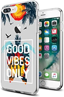 Cocomong Novetly Clear Good Vibes Only Sea Turtle Protective Slim iPhone Case for iPhone 7P/8P 5.5 Inch for Women Girls Men