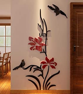 3d Creative Flower Wall Murals for Living Room Bedroom Sofa Backdrop Tv Wall Background, Originality Stickers Gift, Removable Wall Sticker Decor Decals (70(H) x 28(W) inches)