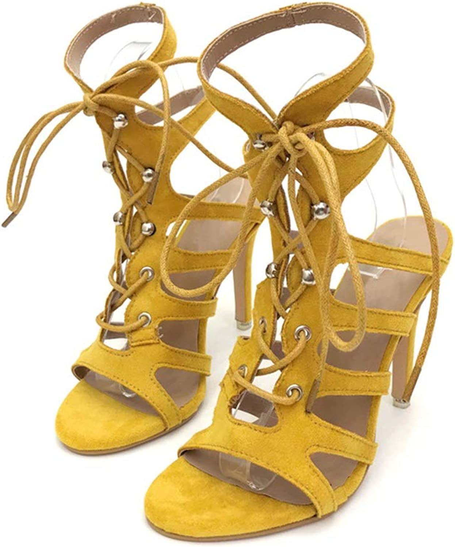 Easy Go Shopping Mode Damenschuhe Hohlriemen Hohlriemen Hohlriemen mit Nieten Sandalen Schuhe Frauen Cross Strap Frauen Sandalen High Heels Schuhe Elegante Lederschuhe (Farbe   Gelb, Größe   34) 57a