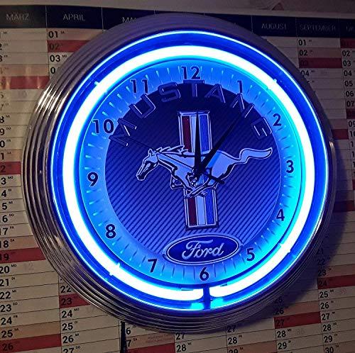 Neonklok Neon Clock FORD Muttang Carbon GARAGE SIGN wandklok verlicht met blauw neon ringen!