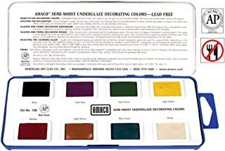 AMACO Non-Toxic Semi-Moist Underglaze Set - A in Pan, 1.5 oz, Assorted Color, 8 Color
