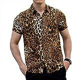 LOGEEYAR Men Casual Button Down Shirt Leopard Snakeskin Print Cool Style Short Sleeve