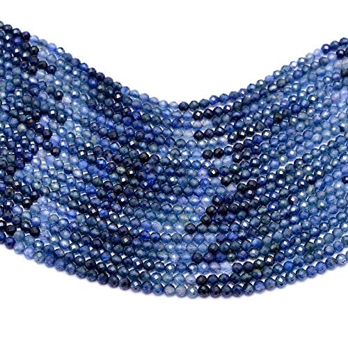 AAA+ Blue Sapphire 2mm Micro Faceted Rondelle Beads ~ Natural Kanchanaburi Blue Sapphire Precious Gemstone Loose Rondelle Beads ~ 13' Strand