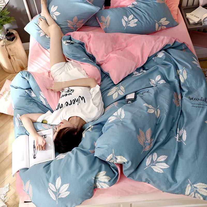Xanlenss 轩蓝仕 天然全棉秋冬AB双面保暖床单四件套 A面纯棉贡缎活性印花面料 B面亲肤保暖高密度水晶绒套件(夕颜花开, 1.5米床(被套200*230))