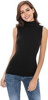 Women Sleeveless High Mock Turtleneck Knit Pullover Sweater Shirt Plain Slim Fit Stretchy Tank Tops