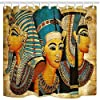 NYMB 3D Digital Printing Egyptian Queen King Prince on Papyrus Shower Curtain, Waterproof Polyester Fabric Ancient Egypt Bathroom Decorations, Bath Curtains Hooks Included, 69X70 inches (Multi9) [並行輸入品]