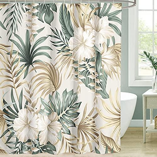 Yookeb Tropische Sommerpalme Badezimmer Duschvorhang Blätter Banane Hibiskus Blumen Pflanze 152 cm x 180 cm Polyester Stoff 12 Kunststoffhaken wasserdichte Dekoration