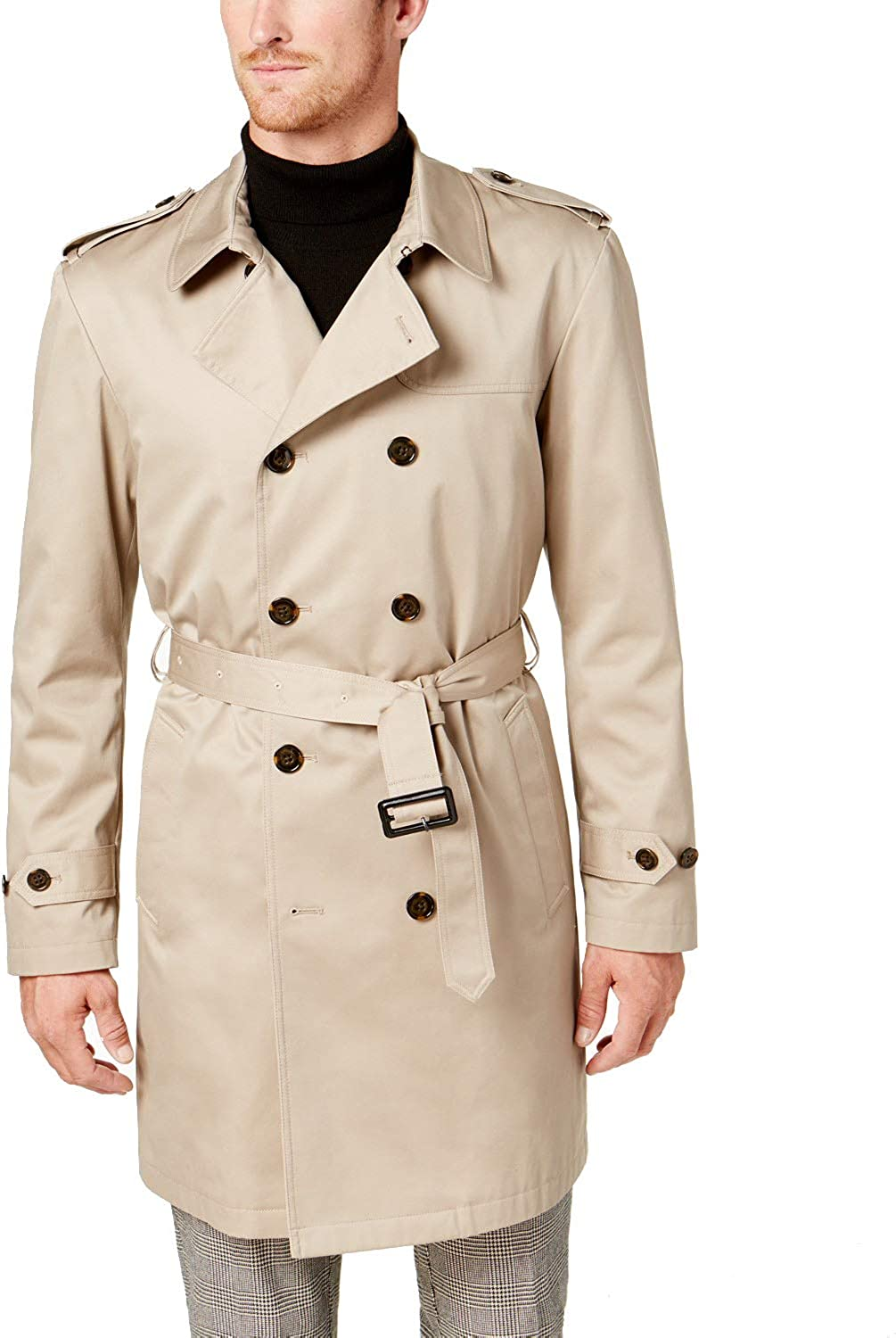 Ralph Lauren Men's LOWRR2JT0001 Double Breasted 3/4 Length Belted Trench Raincoat- Tan - 40L