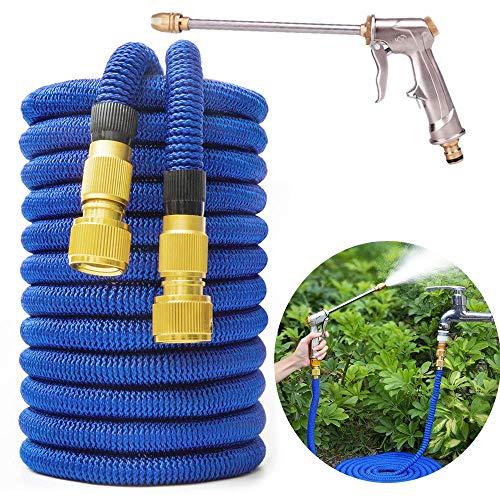 100 FT Gartenschlauch mit Hochdruck-Wasserpistole Erweiterbares, stärkstes magisches Schlauchrohr für das Waschen/Gießen von Garten- und Gartengärten für Autos und Haustiere, Blau 30M
