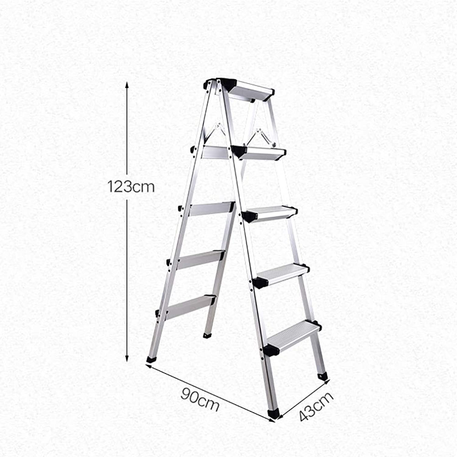 ZLL Household Step Stool, Photography Folding Step Stool, Step Stools Folding Step Stool for Adult Seniors, Silver Stepladders for Kitchen Office, 330 Capacity, Stable Full Size Step Stool with Wide