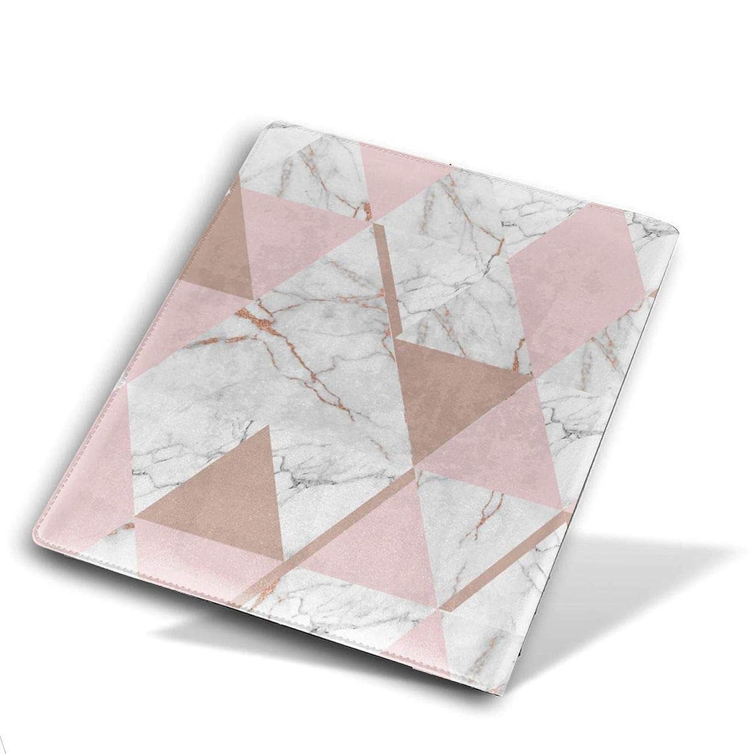重要判決慎重柔らかく 耐久性 PUレザー ブックカバー Book Cover 本 日記 雑誌用 Size 28*51 Cm Rose Gold Triangle Marble Pattern 大理石 パターン