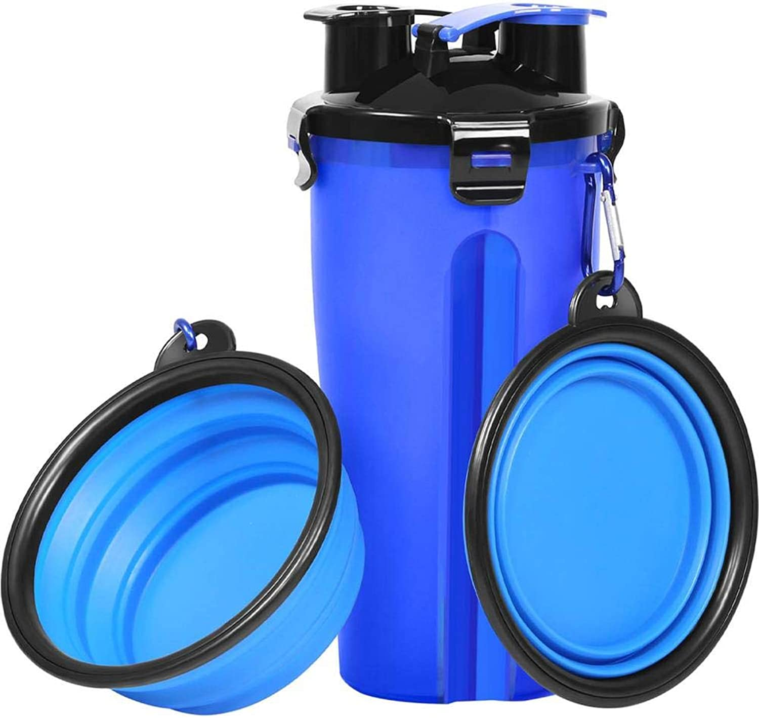 Portable Dog Water Bottle Dog Bowls for Traveling Walking Hiking Pet Food Container 2in1 with Collapsible Dog Bowls, Outdoor Dog Water Bowls for Walking Hiking Travelling