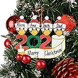 Fansun Wooden Quarantine 2020 Christmas Ornament - Survivor Family of 4 Creative Decoratin...
