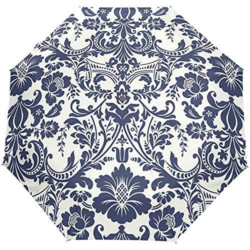 EW-OL Blauer Damaskus-Regenschirm Winddicht Regen Automatisch Öffnen Schließen Klappbare Reise-UV-Sonnenschirme