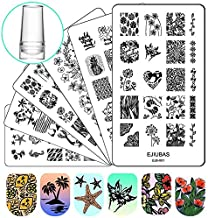Ejiubas Nail Stamper Stamping Plates Nail Stamping Kit - 3pcs Double-sided Nail Stamp Plates and 1 pcs Clear Nail Polish Stamper Scraper EJB-X01 X02 X03