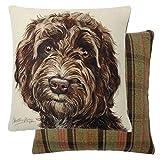 Evans Lichfield Brown Cockapoo Dog Filled Reversible Tartan Cotton Cushion 17'