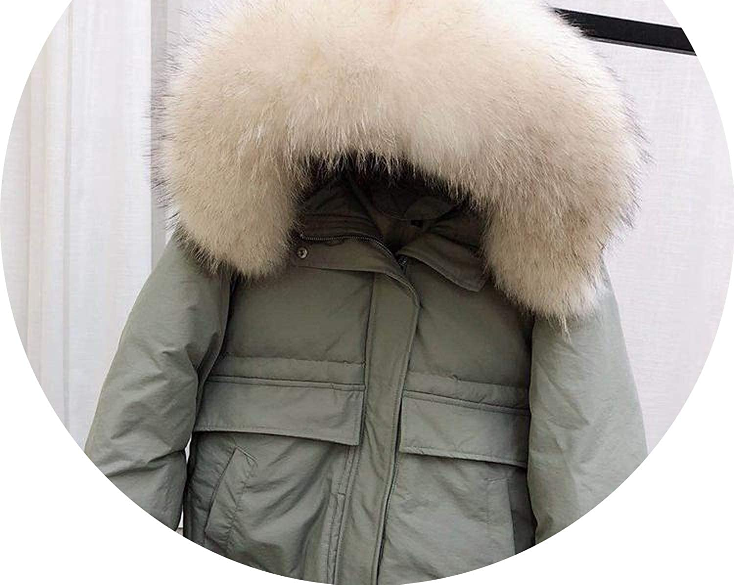 White Duck Down Parkas Medium Long Slim Jackets Large Natural Raccoon Fur Hooded Warm Coat