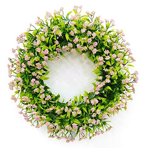 Künstliche Kranz gefälschte Pflanze Wandbehang Hochzeit 46CM Runde Home Decoration Festival liefert getrocknete Blumen rosa