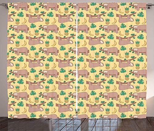 Lustige Faultier-Vorhänge, Baum faule Tier Ananas Banane Monstera, Wohnzimmer Schlafzimmer Fenster Drapieren 2 Paneel-Set, 280 x 204 cm, gelbe Umbra