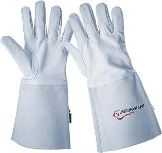 "SAFE HANDLER TIG Welding Gloves   Heat Resistant for Oven, Grill, Fireplace, Stove, TIG MIG Welder, BBQ, 6"" Cowhide Gauntlet, 1 Pair"