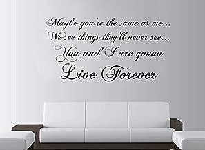 Wall Vinyl Decal Oasis Live Forever Lyrics Rock Quote Lounge Bedroom Vinyl Decor Sticker Home Art Print TT10250