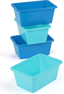 Humble Crew Plastic Storage Bins, Small, Set of 4, Blue & Light Blue, 4 Count