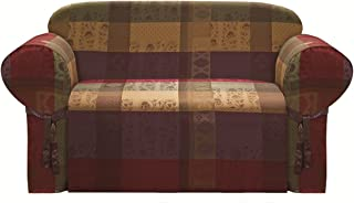 Chezmoi Collection Gitano Burgundy Purple Green Gold Heavy-Duty Jacquard Loveseat Cover Slipcover