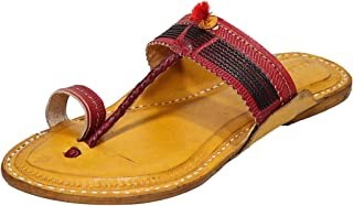 KALAPURI Ladies Comfortable Kolhapuri Chappal in Export Quality Genuine Leather with Yellow Pointed Shape Base and Traditi...