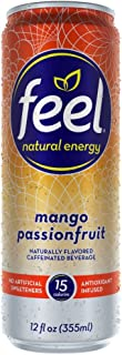 FEEL Natural Energy Drink, Low Calorie, Vegan, Gluten Free, Non-GMO, Healthy Energy Drink for Energy & Focus, Mango Passionfruit, 12 Fl Oz Cans (Pack of 12)