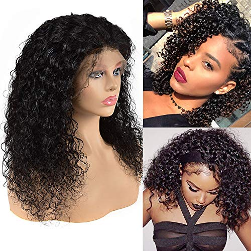 Fuliya Hair 13×4 Lace Front Human Hair Wigs Pre Plucked Brazilian Kinky Curly Lace Frontal Wig with Baby Hair 9A Natural Hair Wigs for Black Women (12, Black-Curly)