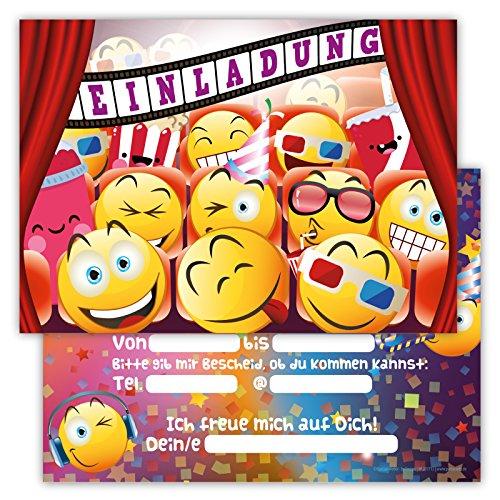 Einladungskarten für Kindergeburtstage für Jungen oder Mädchen (Emojis im Kino, 12 Stück im Kartenset)