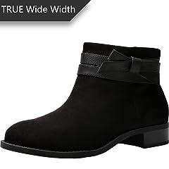 98fed3a2539 Women s Wide Width Ankle Booties - Low Flat Heel Side Zipper .