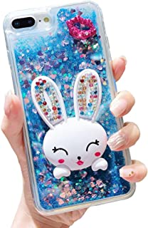 Glitter Liquid Case for Huawei Nova 3i Blue, HMOON Transparent Soft TPU Bumper with 3D Bling Diamond Lips and Bunny Stand Function Design Protective Case for Huawei P Smart Plus/Nova 3i