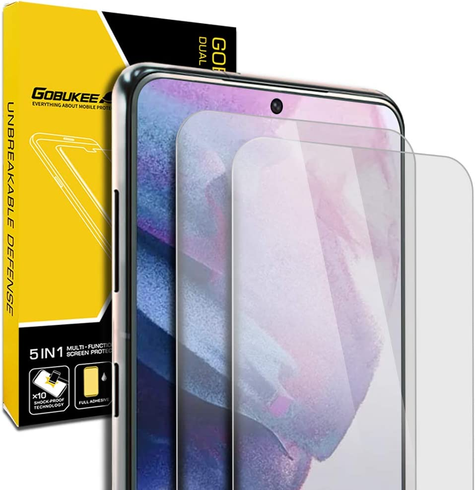 2 Pack GOBUKEE Compatible with Samsung Galaxy S21 5G Glass Film Screen Protector for Fingerprint Sensor Support
