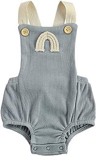 الوليد الصيف مضلع رومبير طفلة بلا أكمام قوس قزح نمط مربع طوق زر playsuit (Color : Gray, Kid Size : 6M)