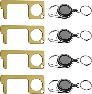 Erasky Contactless Door Opener Closer Hand Tool With Fishing Zinger Retractor No Touch Elevator Button Pusher Key Keep Hand Clean Keychain Pack of 4