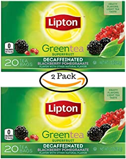Lipton Green Tea, Decaffeinated, Superfruit Blackberry Pomegranate 20 Count Individual Tea Bags (2 Pack)