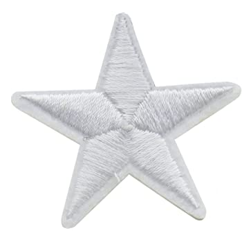ID 3562 Blue White Star Patch Craft Emblem Design Embroidered Iron On Applique