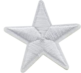Pomeat 24 Pack White Star Iron on Embroidered Applique Patch