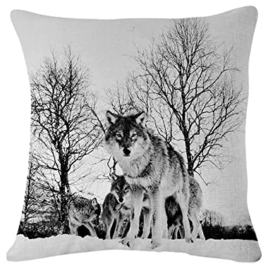 Wolf walk flock Winter Snow - Throw Pillow Case Cushion Cover for Sofa Couch Double-sided printing 18x18 Inches Black and White