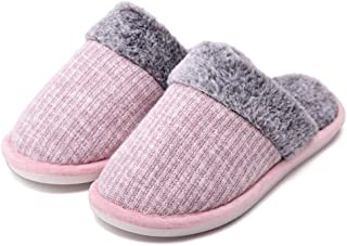 Womens Winter House Slippers Fluffy Warm Bedroom Slippers Plush Faux Fur Furry Indoor Slides Cold Weather Comfy House Flat...