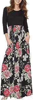 فستان DUNEA ماكسي للنساء مطبوع عليه زهور خريفي 3/4 كم كاجوال طويل فستان طويل طويل طويل