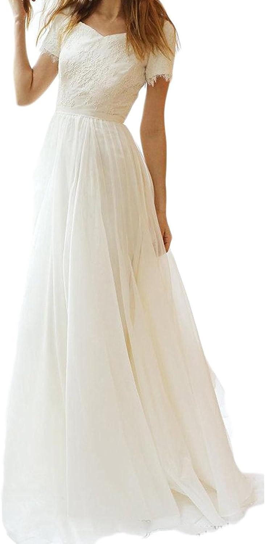 LISA.MOON Women's Lace Applique Tulle Beach Boho Wedding Dresses with Short Sleeve