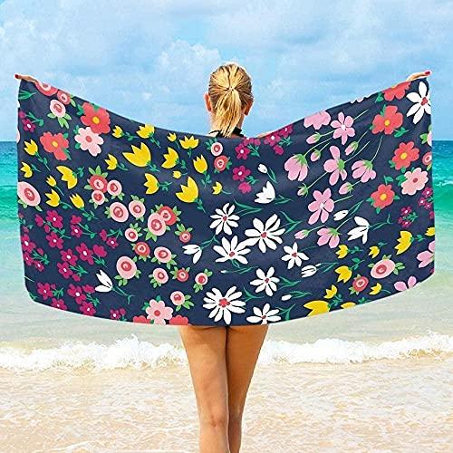 LUYIQ Toalla de Playa Grandes de Antiarena de Microfibra para Hombre Mujer, Flores De Primavera Vintage -150x70cm, Toallas Baño Secado Rapido para Piscina, Manta Playa, Toalla Yoga Deporte Gimnasio