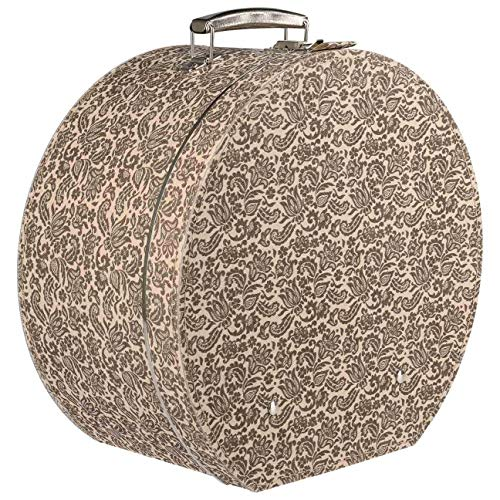 Lierys runder Hutkoffer Blumenmuster - Maße: 40 cm x 20 cm - Große Hutschachtel aus bezogener Pappe - Hutaufbewahrung mit Tragegriff und Schloss - Deko für die Wohnung beige
