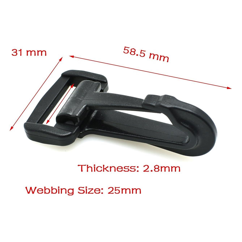 5pcs Plastic Snap Hooks Rocker Style Black (1