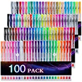 Tanmit 100 Coloring Gel Pens Set for Adults Coloring Books- Gel Colored Pen for Drawing, Writing & Unique Colors...